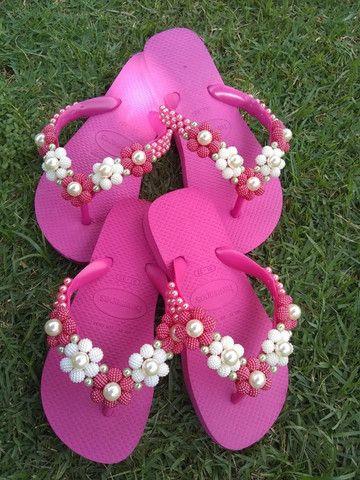 Está chegando o natal!!! Sandálias bordadas personalizadas incríveis a partir de R$45. - Foto 3
