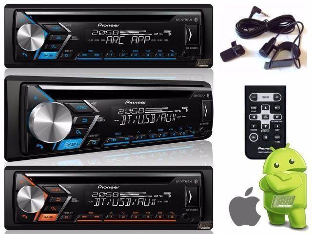 Toca CD Player Pioneer DEH-X4080bt Bluetooth Spotify USB Sub Aux Aplicativo ARC Mixtrax