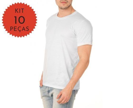 82d03b4bb2 Kit C  10 Camisetas Branca 100% Poliéster Para Sublimação - Roupas e ...
