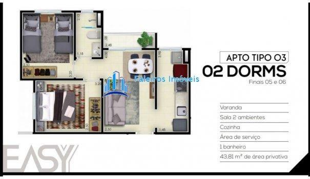 Apartamento 2 dormitórios com sacada e lazer - Apartamento em Lançamentos no bai... - Foto 13