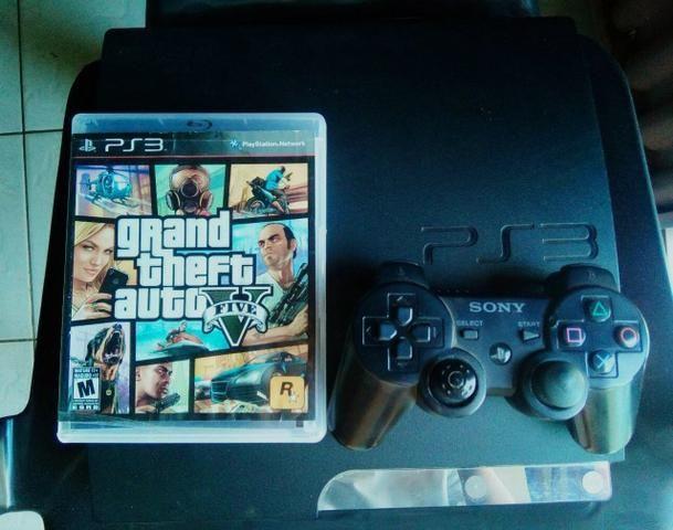 Playstation 3 Slim Destravado + GTA V + Jogos dentro do HD