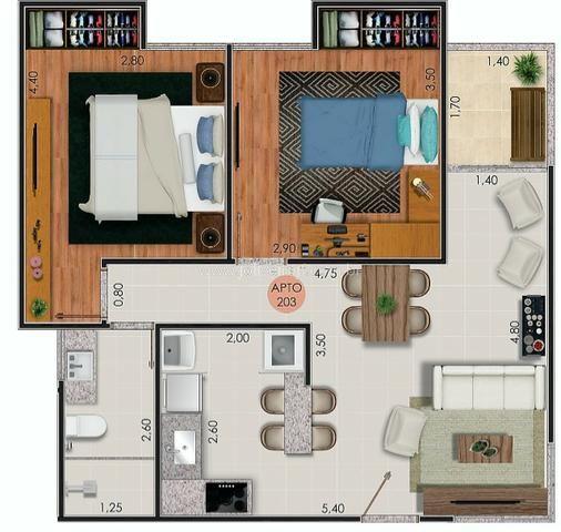 (J1) Apto de 2 quartos com varanda e garagem em uma das melhores ruas do Bairu - Foto 11