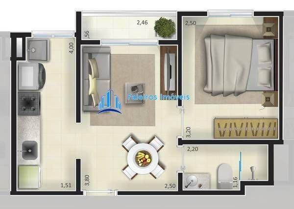Apartamento de 1 e 2 dormitórios , com sacada e lazer - Apartamento em Lançament... - Foto 10