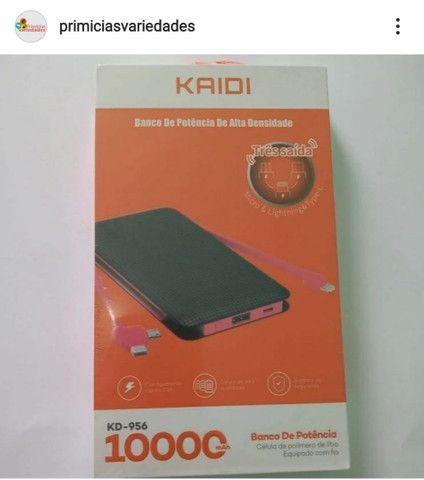 Carregador Portátil Power Bank 10.000mah Kaidi KD-956 3 Saídas