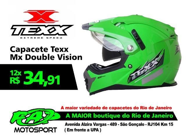 85e365b520 Capacete Moto Texx Cross MX Double Vision Viseira Interna Solar Verde