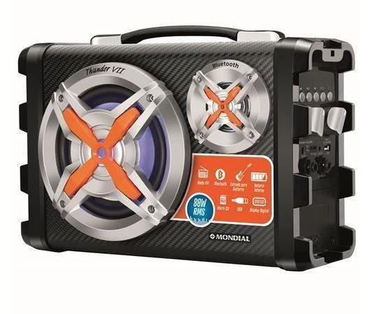 Caixa Amplificada Mondial Thunder VII MCO-07 -80W, Bluetooth, USB e Rádio