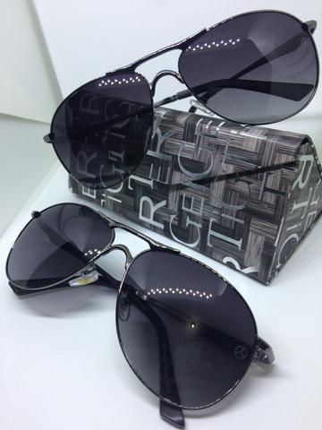 Lindo óculos de sol mercedes-benz cromado com hastes marrom