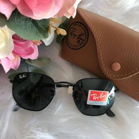 9204ba7d865d1 PREÇO IMPERDÍVEL! Óculos de Sol Ray Ban Hexagonal! Modelo Novo! 100%  Proteção