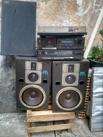 Receiver technics, tape deck toca disco