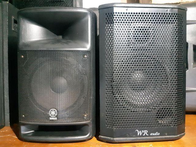 Caixa de som ativa e passiva.  Yamaha e JBL