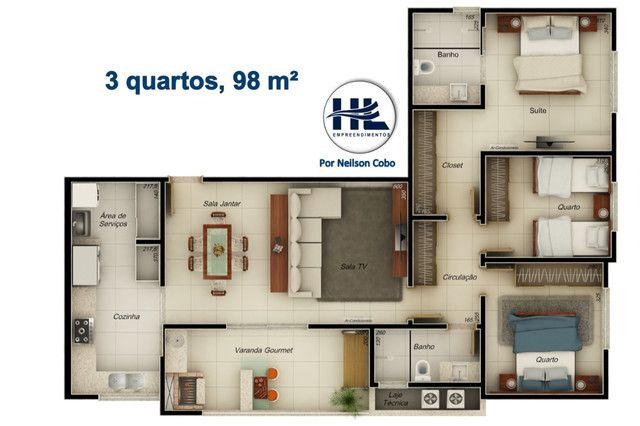 Apartamento com 98 metros, 3 quartos e varanda gourmet. Bairro Jardim Finotti - Foto 8