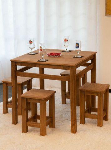 Jogo de mesa + 4 banquetas - Foto 4