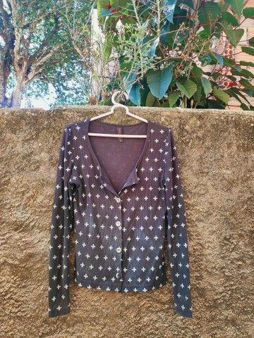 Casaco estampado usado, tamanho G - Foto 2