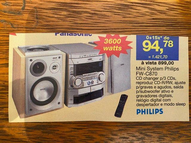 Sistem Phillips 3cd?s - 2 fitas k7 - AM / FM - Foto 4