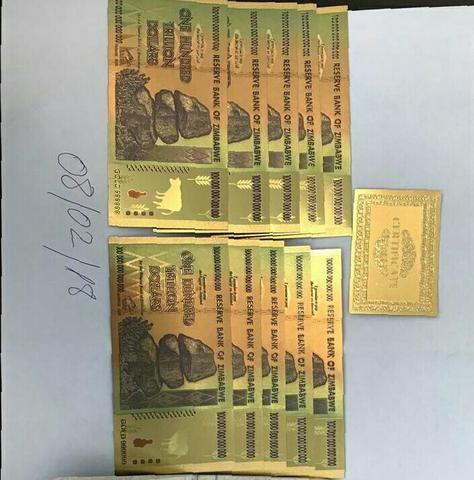 Notas Zimbábue Gold 100 trilhões