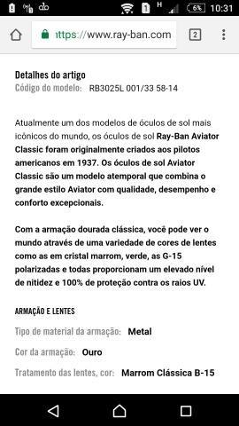 Ray Ban aviador sem marcas de uso