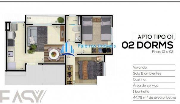 Apartamento 2 dormitórios com sacada e lazer - Apartamento em Lançamentos no bai... - Foto 11