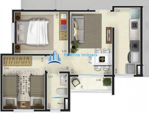 Apartamento de 1 e 2 dormitórios , com sacada e lazer - Apartamento em Lançament... - Foto 9