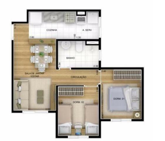 Apartamento em guarulhos fatto reserva vila rio 45mts 2dorm 1vaga lazer completo - Foto 3