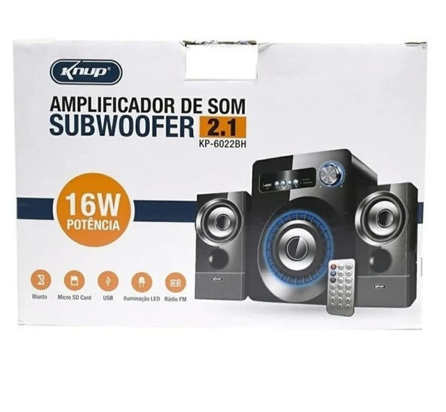 AMPLIFICADOR DE SOM SUBWOOFER 2.1 KP-6022BH