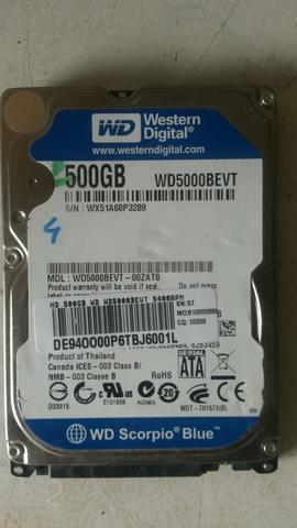 HD de note 500GB e memória 4GB 1600