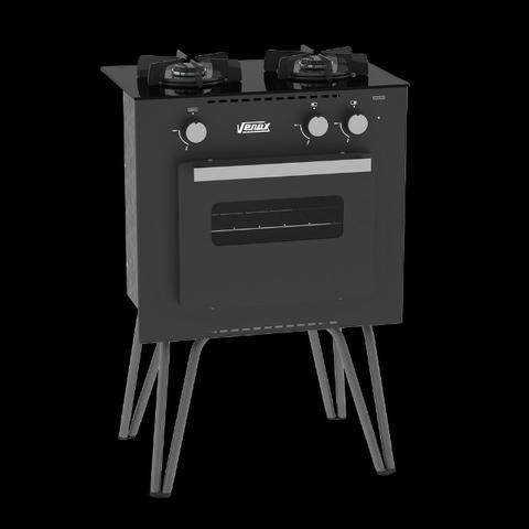 Fogão A Gás Portátil Mini Cook 2 bocas Com Forno Venax - Foto 2