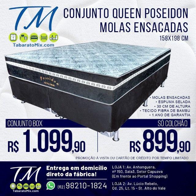 Conj. Base + Colchão Casal Queen 30CM Molas Ensacadas Omega ! 10X Sem Juros