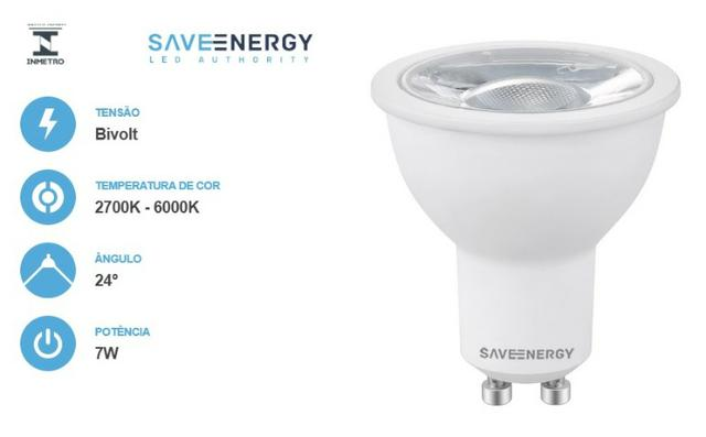 Lâmpada Dicroica MR16 GU10 4,8W Save Energy - Foto 3