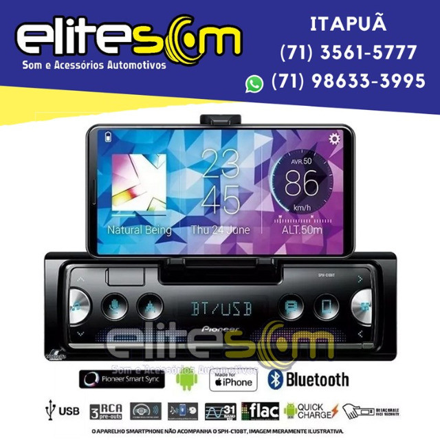 Aparelho Pioneer Sph-c10bt Smartphone Bluetooth Smart Sync instalado na Elite Som - Foto 4