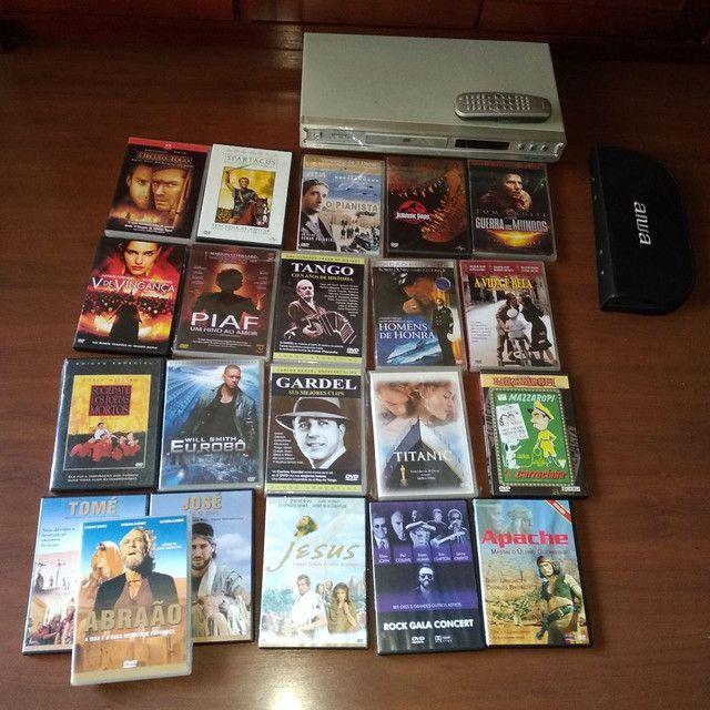 coleção 21 filmes dvd originais + aparelho philips