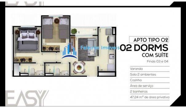 Apartamento 2 dormitórios com sacada e lazer - Apartamento em Lançamentos no bai... - Foto 12