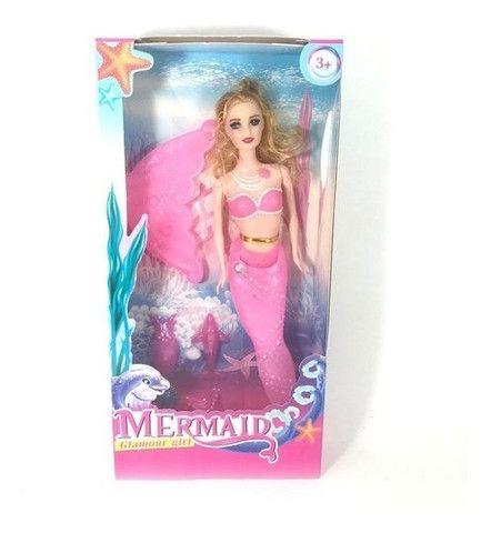 Boneca Sereia Articulada 30 cm Rosa - Mermaid Glamour Girl - Foto 2