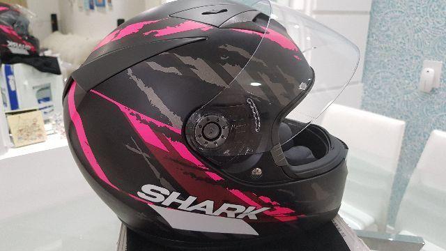 Capacete Shark S700 Oxyd Fosco KPA Preto Rosa Fosco Tamanho 56