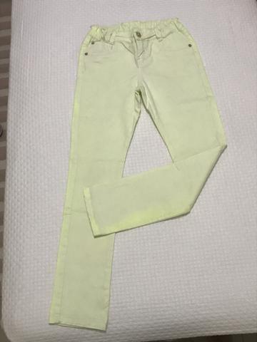 Calça jeans amarelo flúor Tam 12