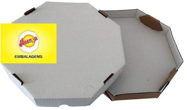 50 Caixas Embalagem Pizza 35cm Oitavada Branca Tbm personalizamos, temos todos os tamanhos - Foto 5