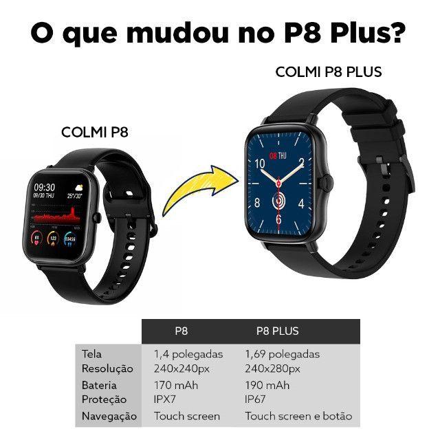 "Smartwatch Bluetooth Colmi P8 Plus Preto 1.69"" Lançamento 2021 - Foto 4"
