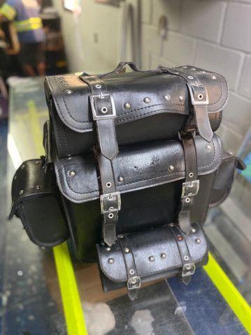 bolsa de couro ecológico para moto