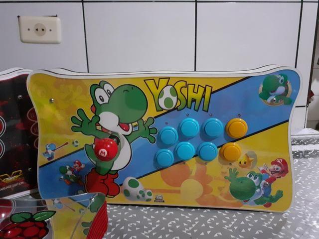 Raspberry pi 3, arcade stick , fliperama ,vídeo game retro 9 mil jogos, bartop - Foto 3