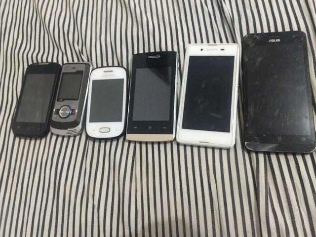 Lote com 6 celular para retirada de peças.
