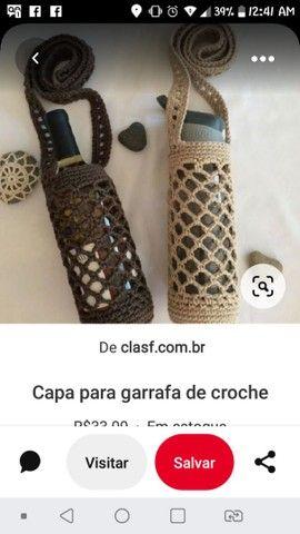 Capa para garrafa em crochê - Foto 2