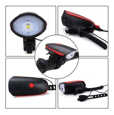 Lanterna de Bike Led Com Buzina 3 Modos Recarregável - Foto 5