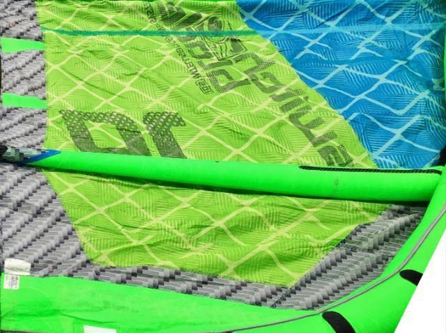 Kite surf cabrinha switchblade 10m ano modelo 2014 - verde fluorescente tecido estalando - Foto 5