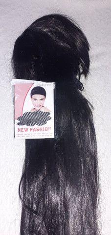Peruca cabelos longos com franja Nova