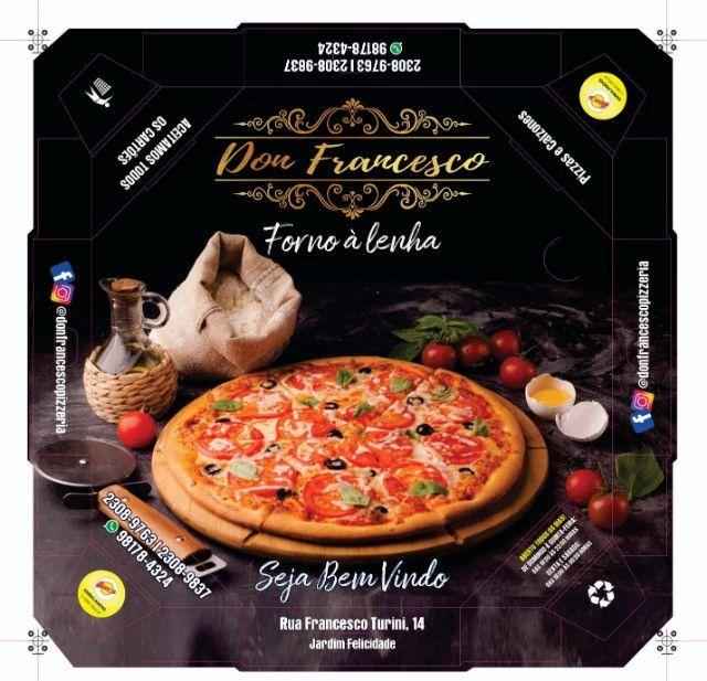 50 Caixas Embalagem Pizza Broto 25cmOitavada Fotográfica Reforçada Padrão ou Personalizada - Foto 4