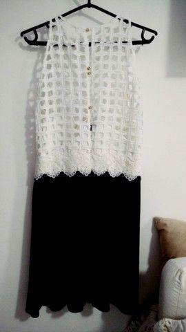 Vestido de Festa Preto e Branco - Usado poucas vezes - Foto 2