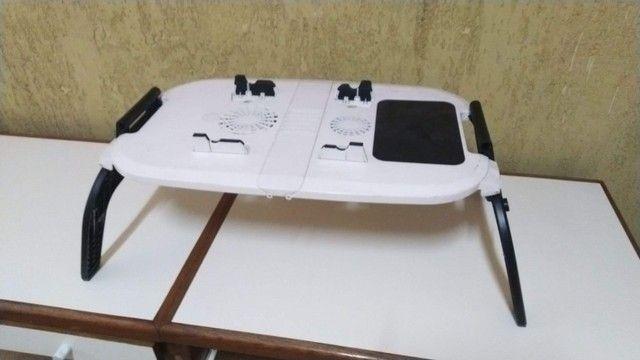 Mesa para Notebook Com Cooler Dobrável E Ajustável Formato Ergonômico, Nova, barato.