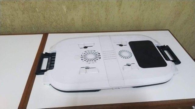 Mesa para Notebook Com Cooler Dobrável E Ajustável Formato Ergonômico, Nova, barato. - Foto 2
