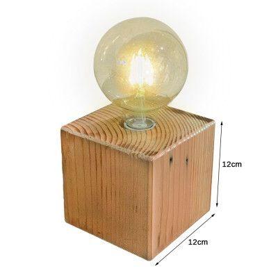 Luminaria de mesa abajur dijon industrial cubo 12x12 em madeira maciça