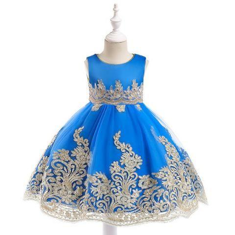 Vestido Infantil De Festa Luxo Bordado Azul Royal T45 Anos