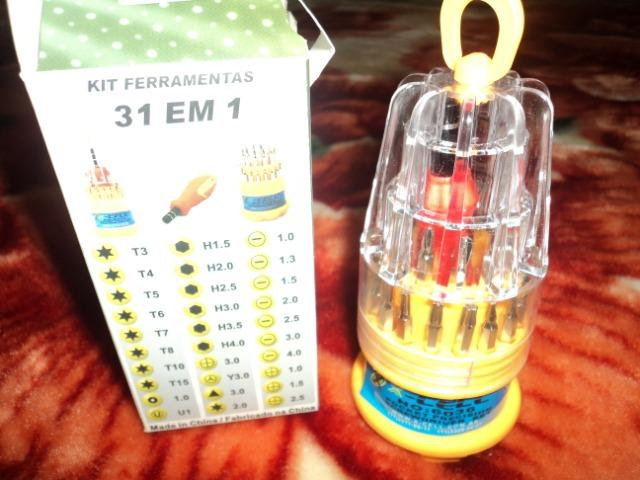 Kit contendo 31 chaves uma delas vai abrir o parafuso produto novo entregamos em Poa-rs